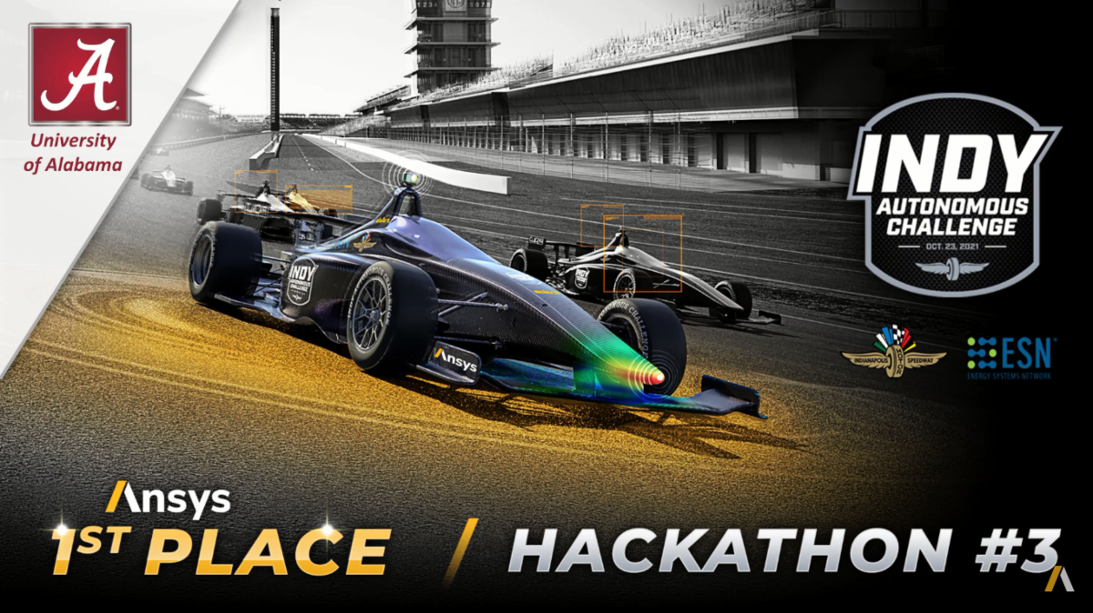 photo of a race car on a track with 4 logos and text reading Ansys 1st Place Hakathon #3